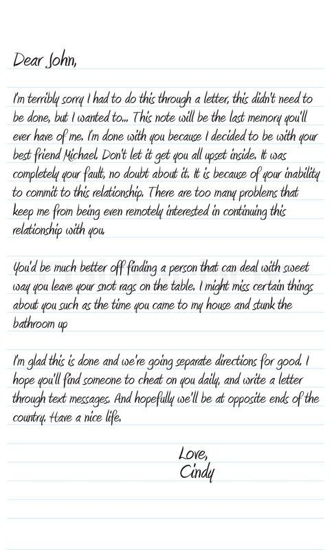 Sample Break Up Letter To A Married Man