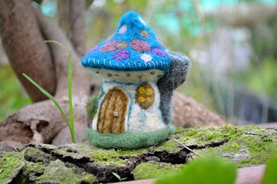 Needle Felted little mushroom house  by Harthicune by Harthicune, $25.00