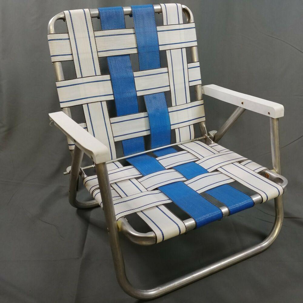 Vtg Aluminum Webbed Folding Chair Low Beach Camping Lawn Seat White Blue Retro Sunbeam Retro Backyard Chairs Folding Rocking Chair Patio Chair Cushions