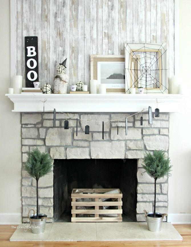 Indoor Halloween Decorations - a Simple Neutral Mantel full of - halloween decorating ideas indoor