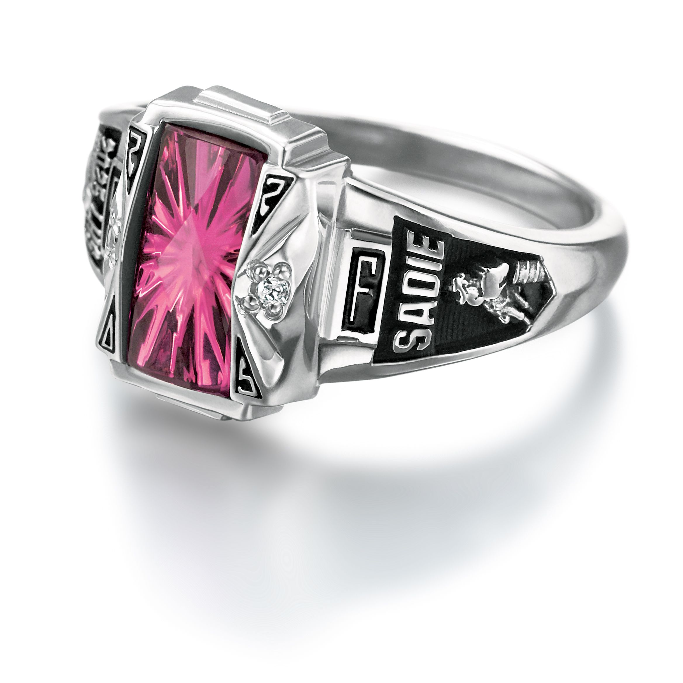 Women's Class Ring - Synthetic Blue Spinel Reagan High ... |Womens High School Class Rings