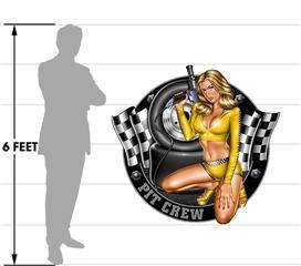 Pit Crew Pin Up Girl 51x48 Yellow Sexy  Wall Skin