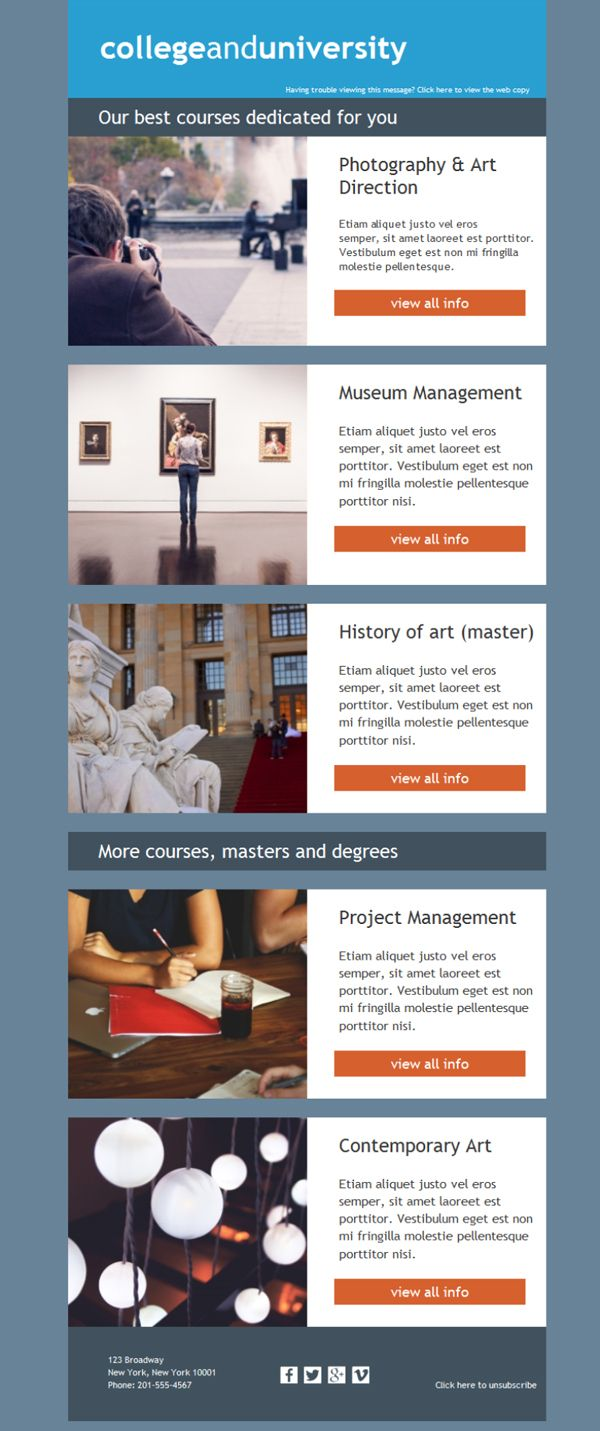 Plantillas newsletter para universidades, colegios mayores, academias superiores... todo el conocimiento llegará a todos los buzones de correo gracias a Mailify.