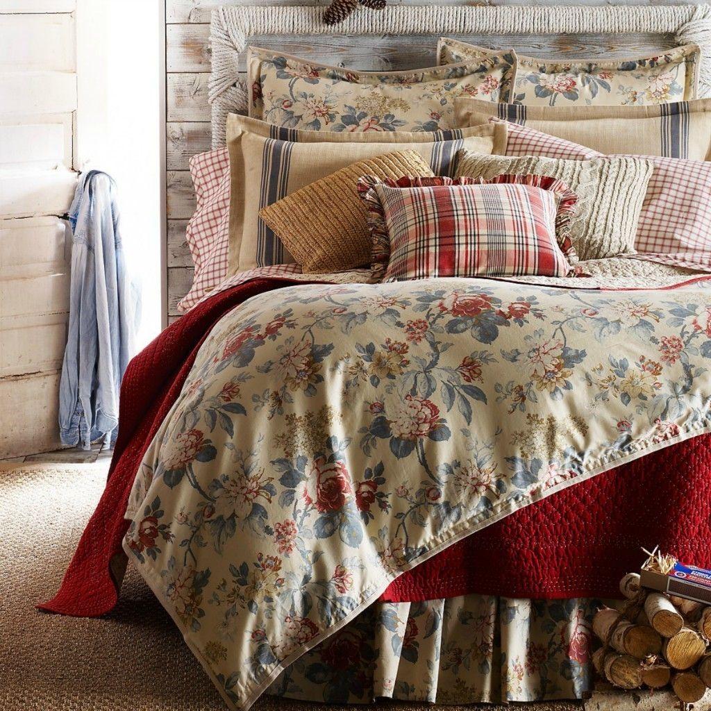 Good Ralph Lauren LAKE HOUSE FLORAL 4 Pc Queen Comforter + Bedskirt + STD Shams  Set