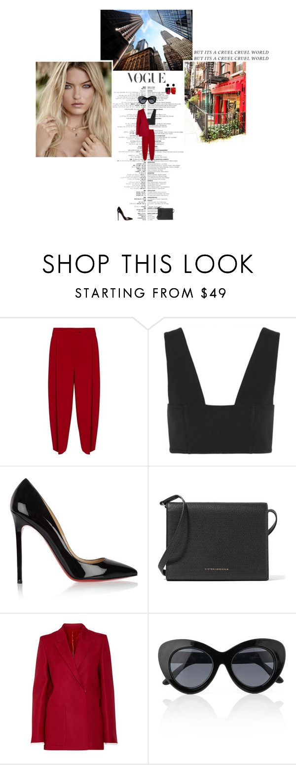 """""""Set #4772"""" by miky94 ❤ liked on Polyvore featuring Emporio Armani, T By Alexander Wang, Christian Louboutin, Victoria Beckham, Acne Studios and Le Specs"""