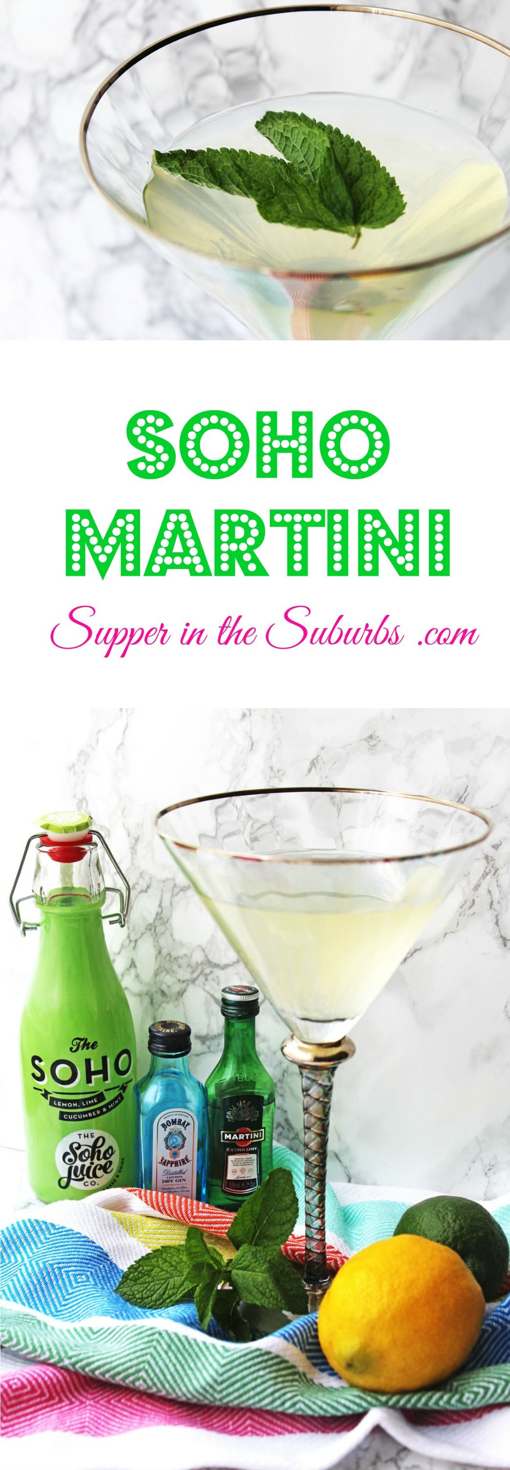 Check out the Soho Martini made with a cucumber mint and citrus fruit soft drink from the Soho Juice Co. It's the perfect cocktail for a garden party, picnic, or evening out in the sunshine. Get the recipe from Supper in the Suburbs.