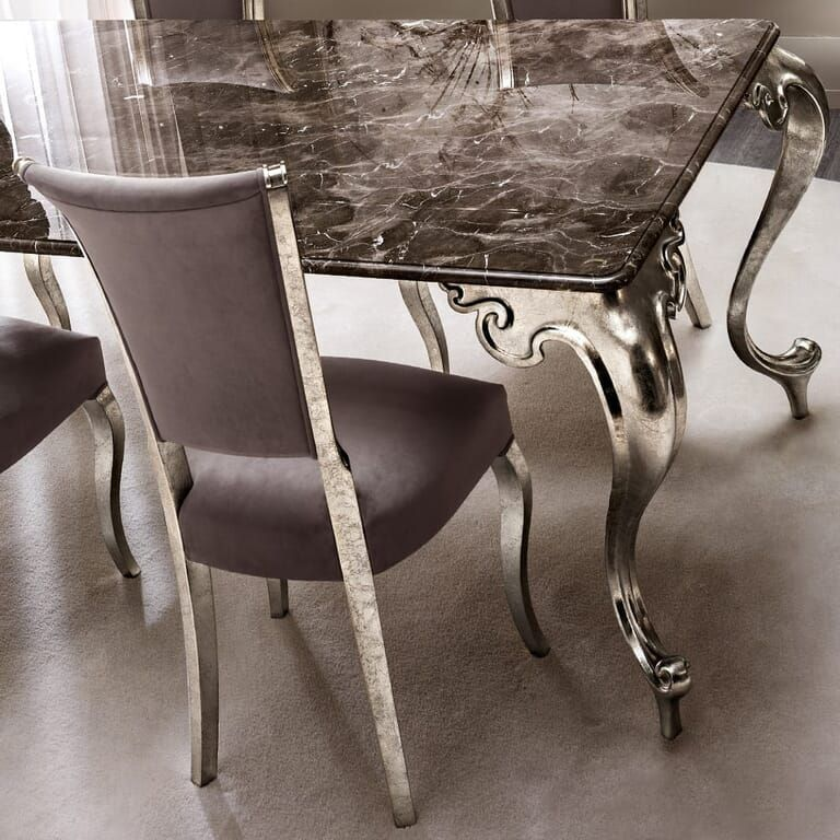 Luxury Italian Marble Champagne Leaf Dining Table And Chairs Set Table Chair Sets Dining Table Table Chairs