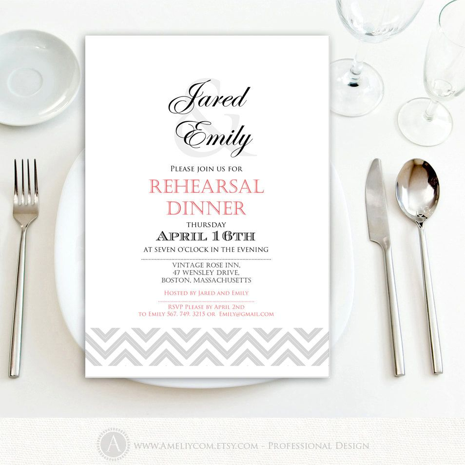 Printable Rehearsal Dinner Invitation Wedding Engagement Invite ...