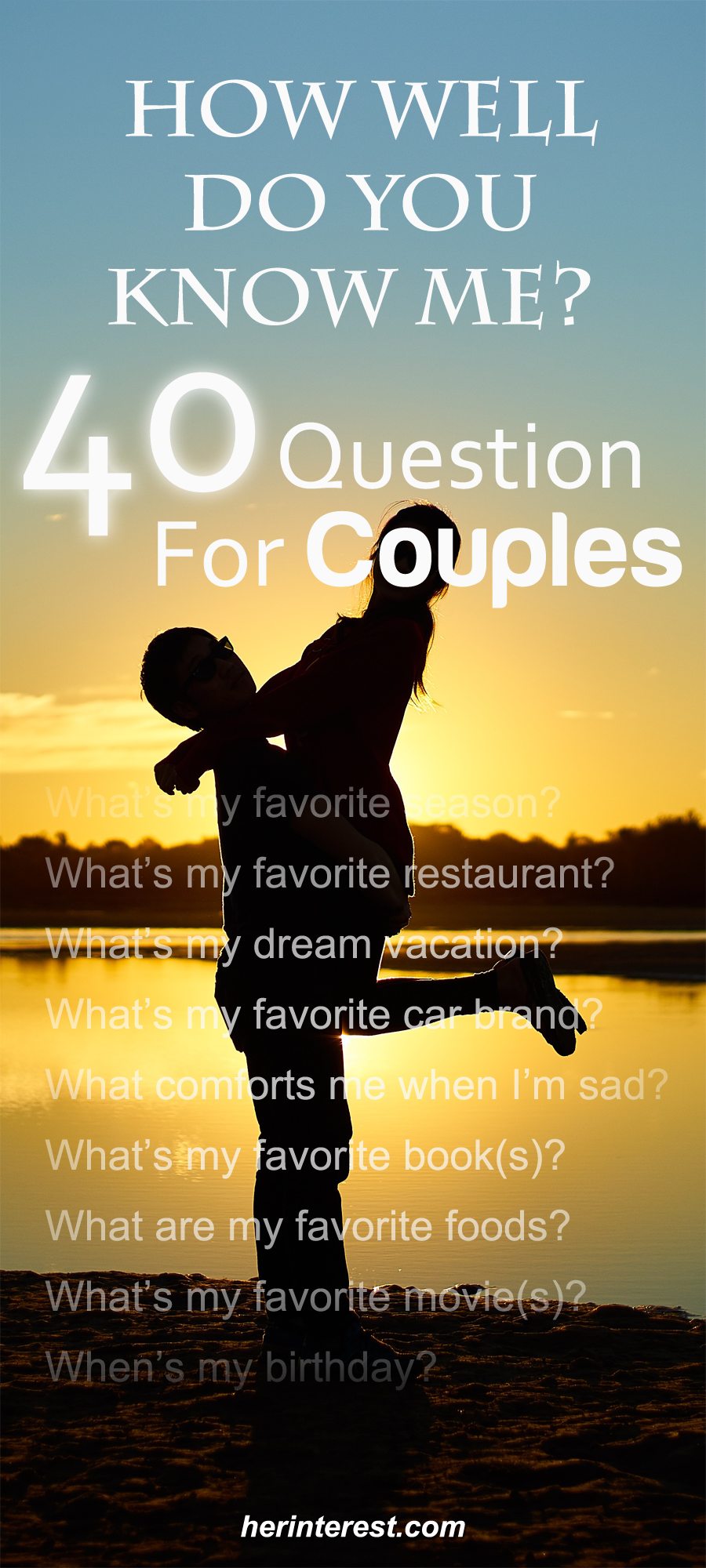 How Well Do You Know Me 40 Questions For Couples All About Love Pinterest Couples