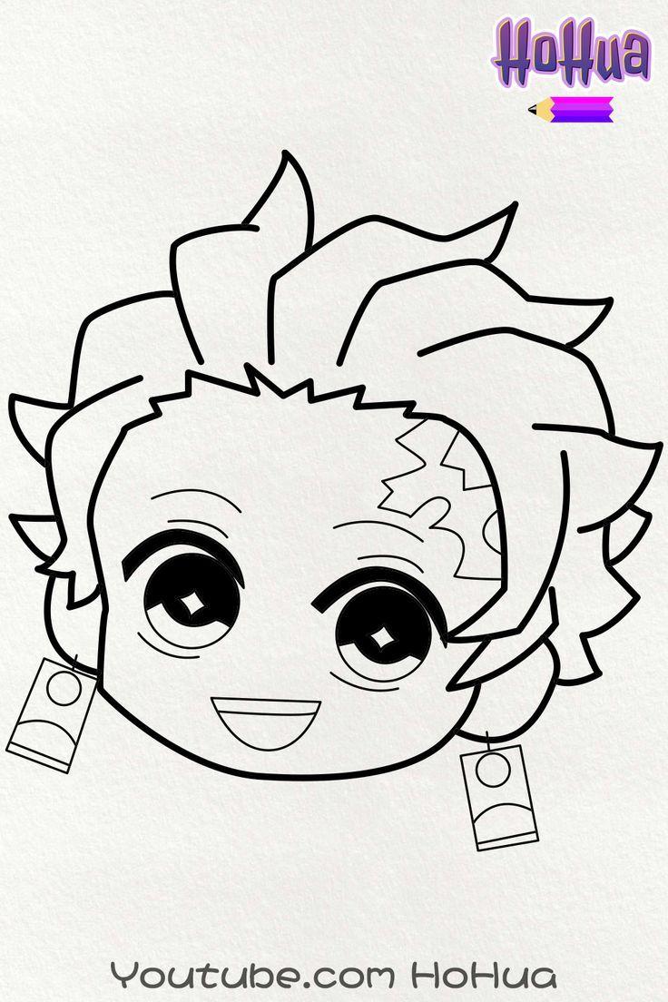 Photo of Chibi Tanjiro Kamado from Demon Slayer Kimetsu No Yaiba Line art coloring Page by HoHua