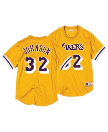 4170d89b111 Mitchell   Ness Men s Magic Johnson Los Angeles Lakers Name and Number Mesh  Crewneck Jersey - Gold S