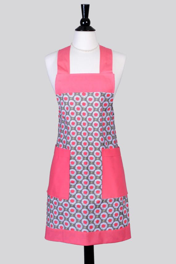 Japanese Crossback Apron - Flamingo Pink Gray Daisy Womens Retro Crossover Vintage Style Pinafore Kitchen Apron with Pockets - (DP)