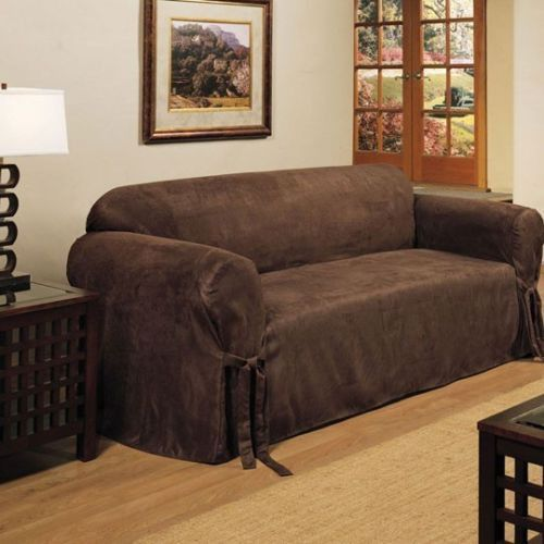 Micro Suede Slipcover Sofa Loveseat Chair Furniture Cover Brown