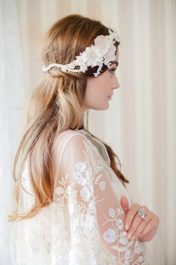 KAMILLE flower vine with Preciosa crystals pearls by JannieBaltzer