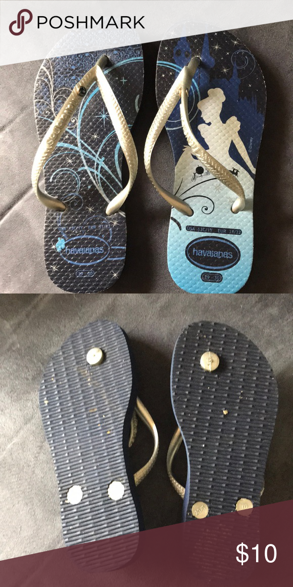 a82cc801e Nearly new Cinderella Havaianas size 29-30 Navy blue Cinderella Havianas  with cute mural pattern Havaianas Shoes Sandals   Flip Flops