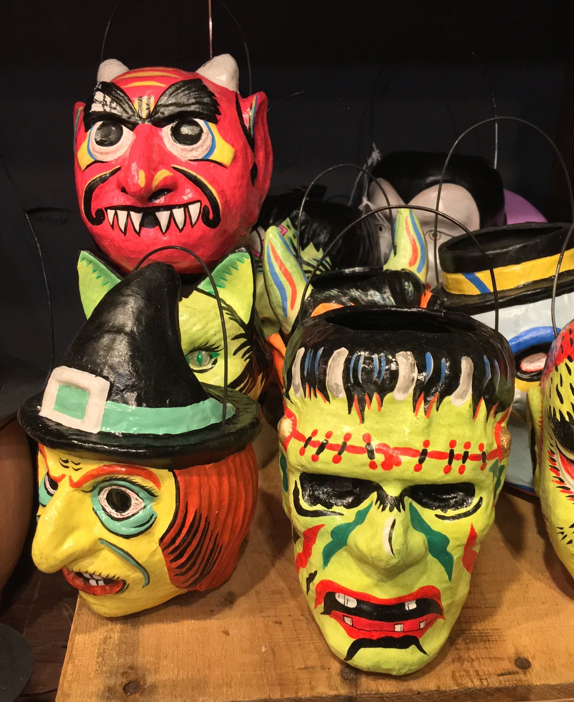 6 Neon Mask Character Buckets Paper Mache