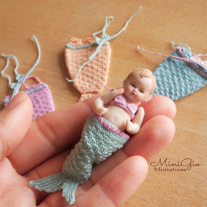 Knitting Patterns for 1:12 scale dollhouse baby doll fits 2 inch doll SET 3