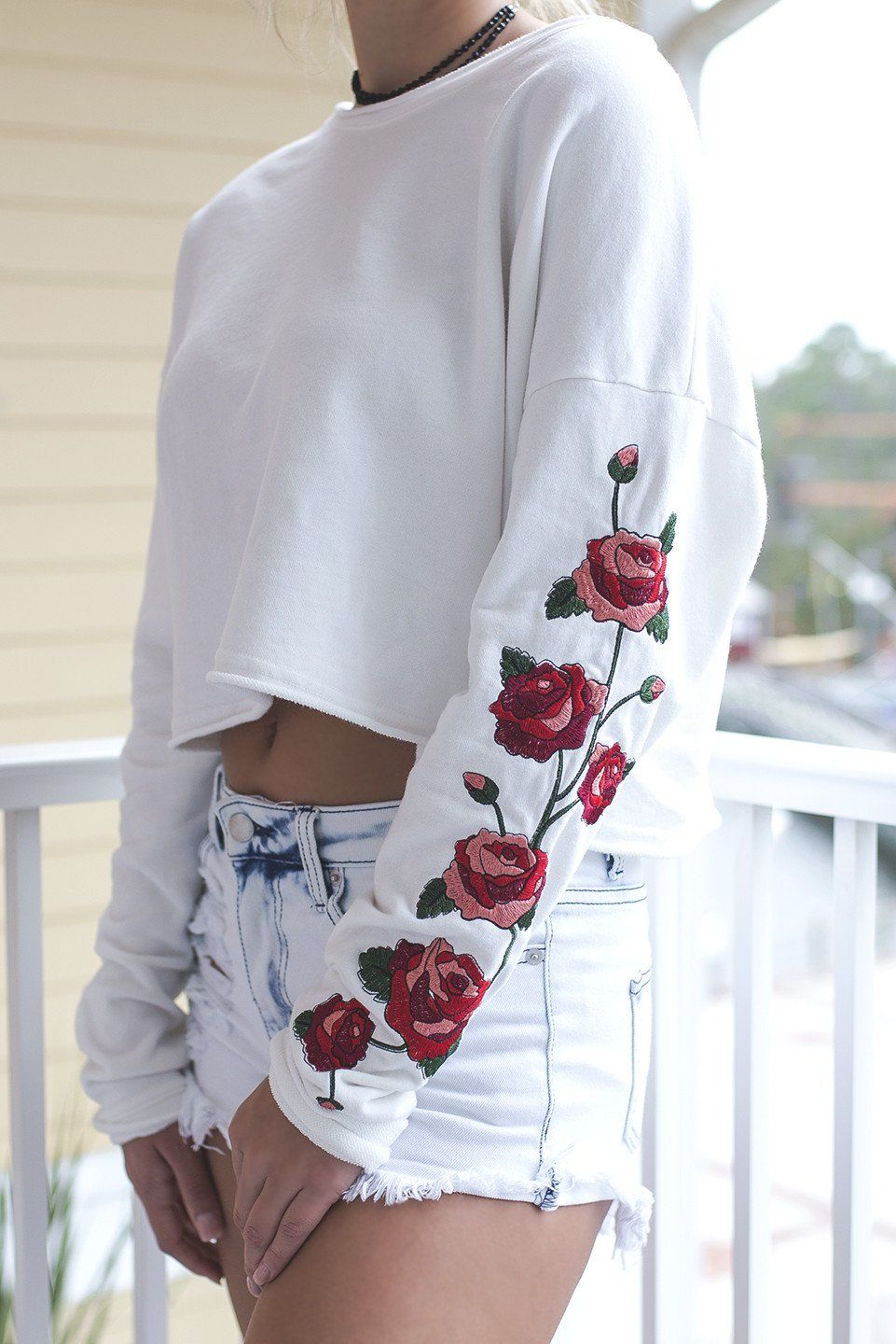 1a490cf68ade5 My Own Way White Rose Embroidered Crop Top