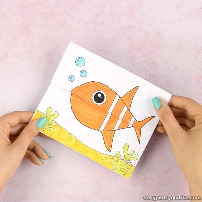 Surprise Big Mouth Fish Printable Детские поделки