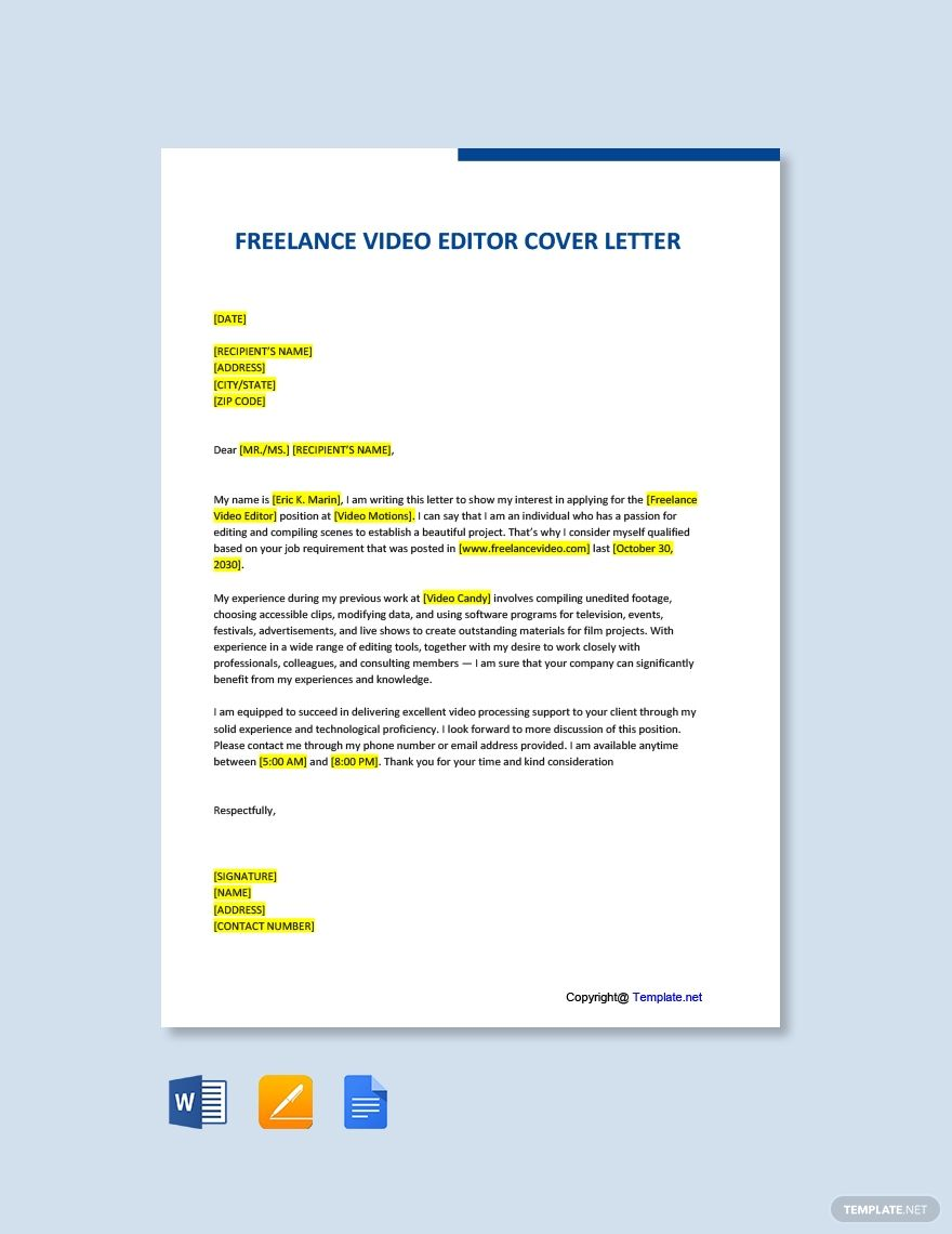 Free Freelance Video Editor Cover Letter Template In 2020 Cover Letter Template Free Cover Letter Template Letter Templates Free