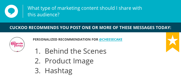 The Cheesecake Factory gave its followers a behind the scenes look at the making of one of its most popular dishes, and included some hashtags to attract a bigger audience. Find out what Cuckoo recommends your brand should do on social media: www.cuckoo.io