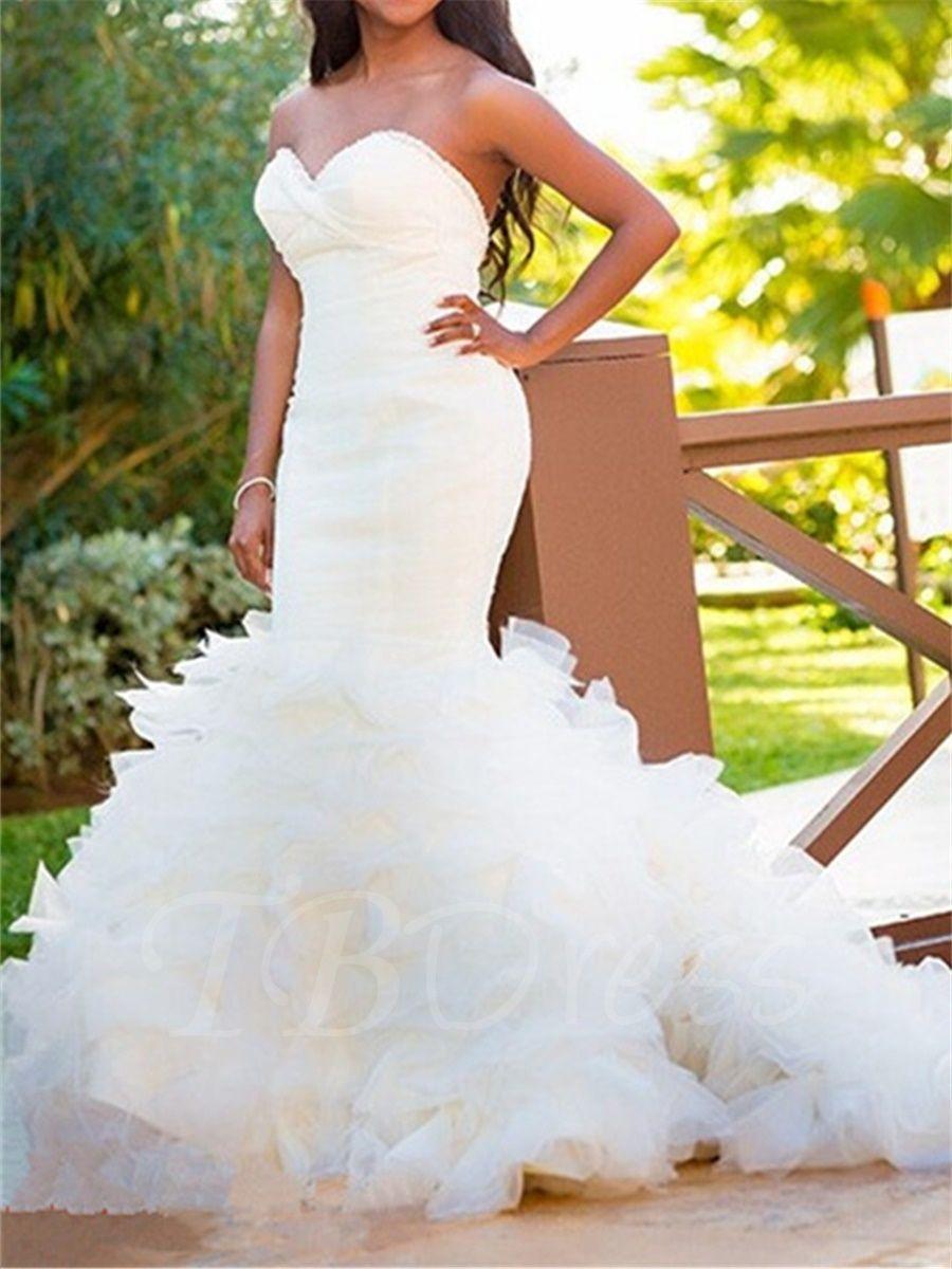 Sweetheart Beading Tiered Ruffles Mermaid Wedding Dress ...
