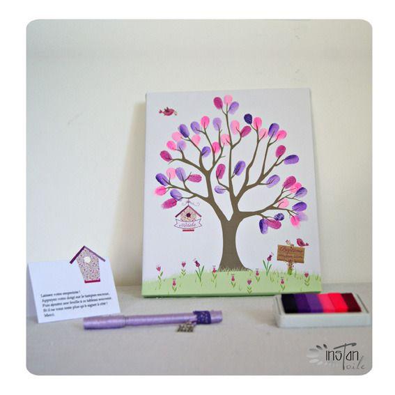 arbre empreintes 24 x 30 cm th me fleurs ftulipes et nichoir liberty violet mauve rose. Black Bedroom Furniture Sets. Home Design Ideas
