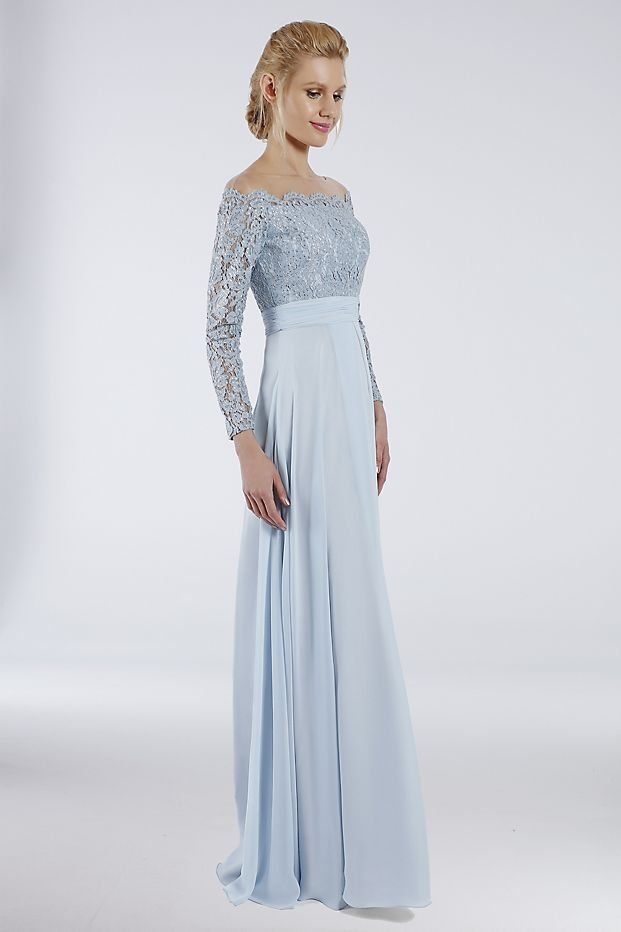 0d376fb911d Powder Blue Illusion Off-The-Shoulder Mother of the Bride Gown with Lace  Bodice by Terani Couture from David s Bridal