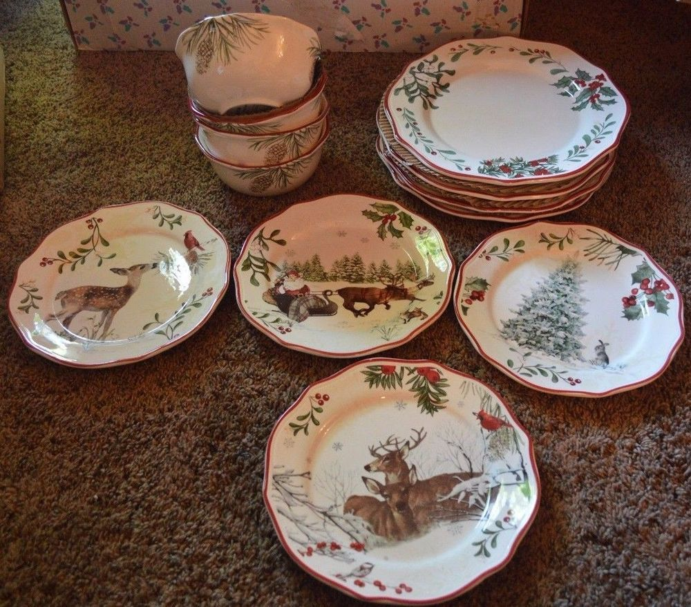 Better homes and gardens heritage winter forest 12 pc dinnerware set ...