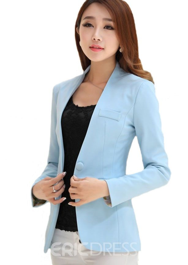 478e805ca5a Simple Candy Color Long Sleeves Blazer. Simple Candy Color Long Sleeves  Blazer Blue Suit Jacket ...