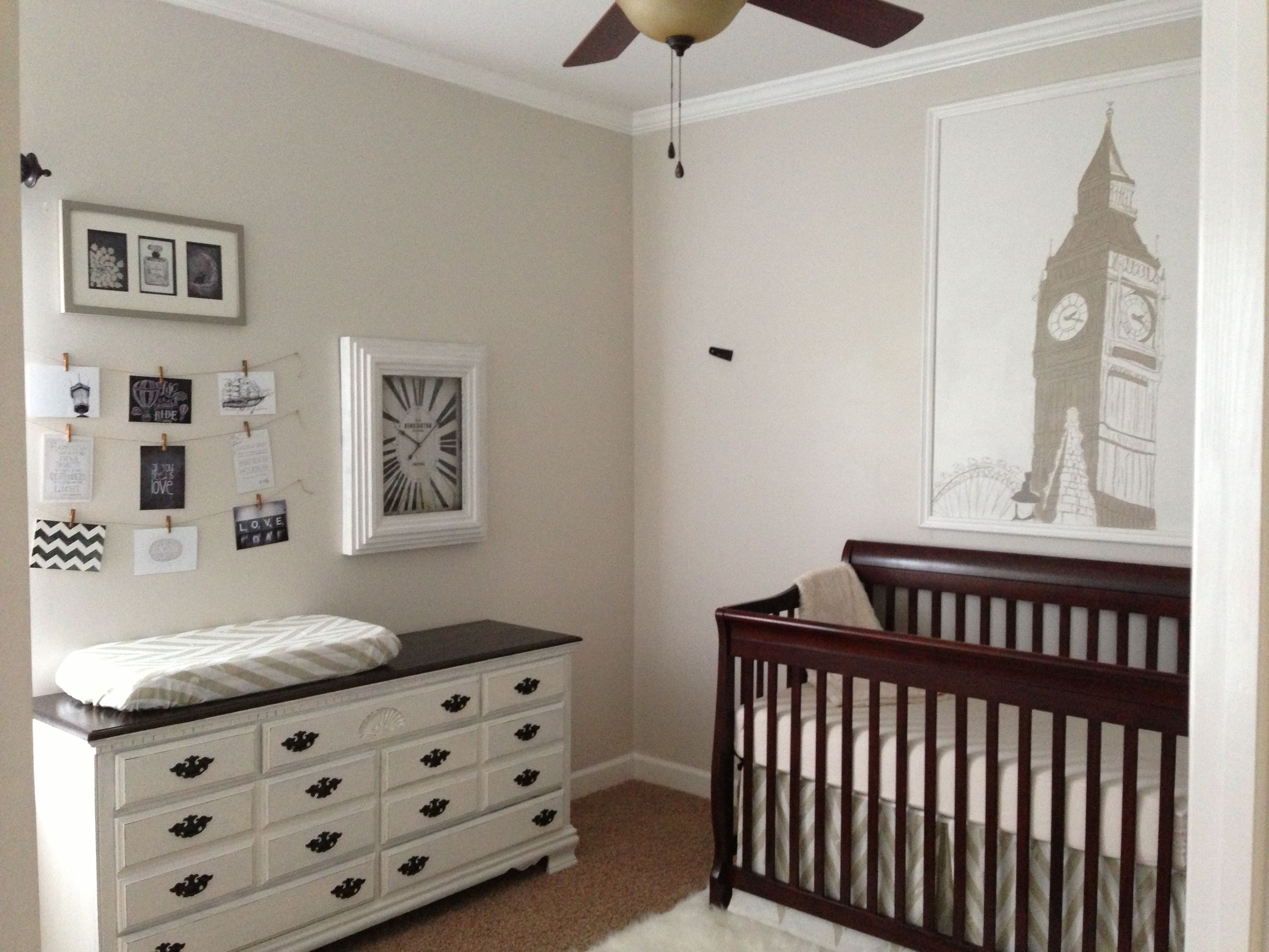 Neutral Nursery, England Theme, Big Ben, Changing Table, Dresser,  Refinished Chalk