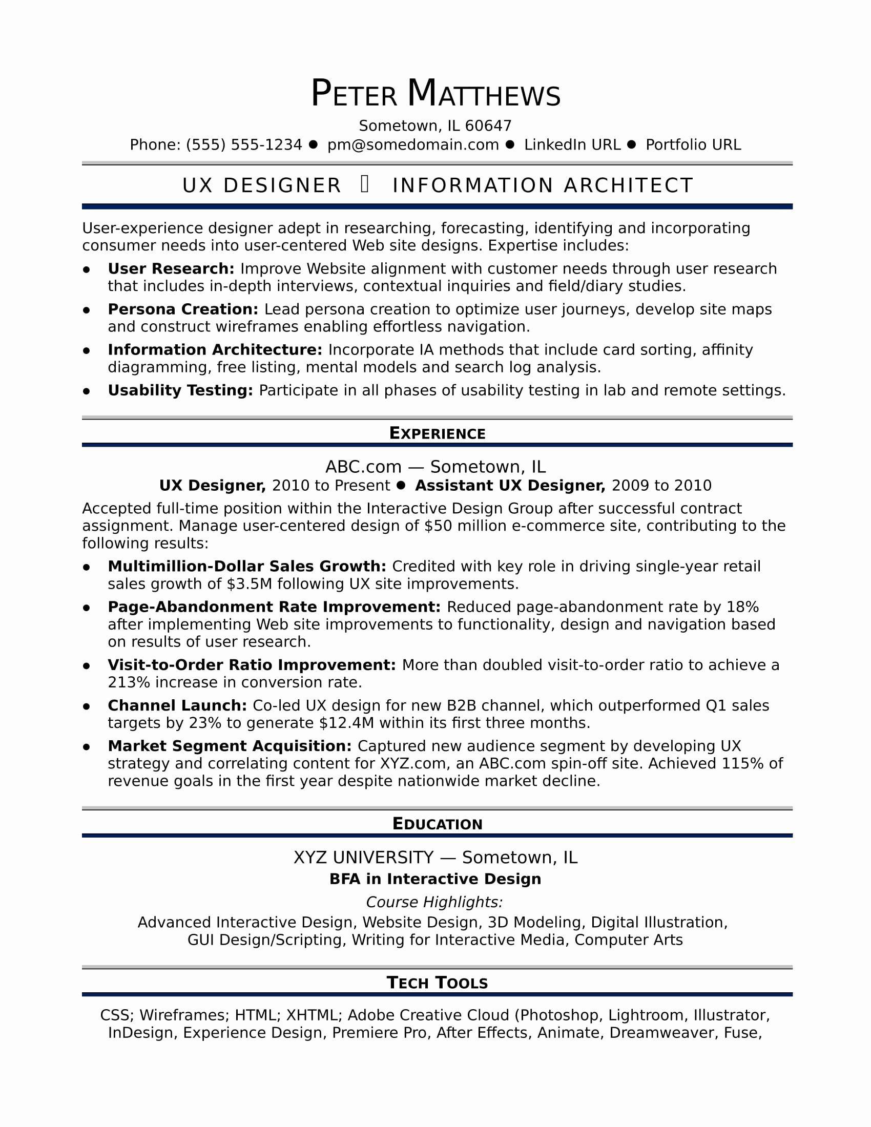 User Interface Designer Resume Unique Sample Resume For A Midlevel Ux Designer Resume Design Unique Resume Template Resume Design Creative