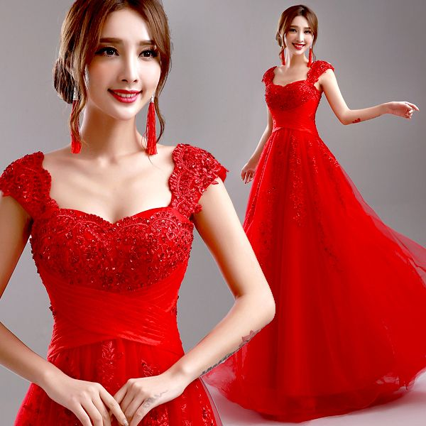 Red Evening Dress 2016 New Arrival Bride Married Wedding Party Plus Size Lace Beading Sexy