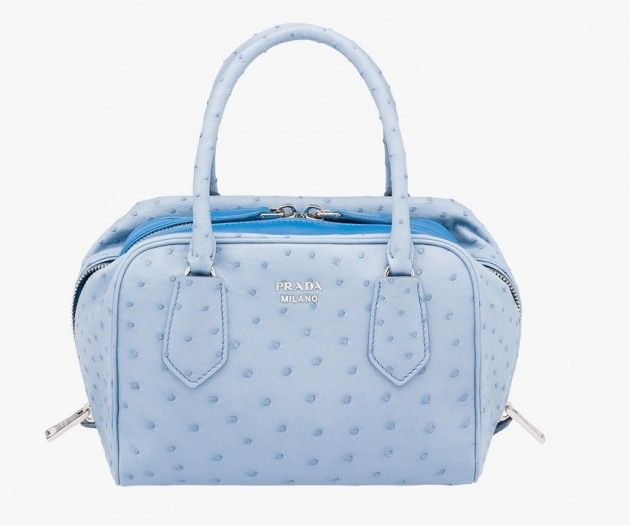 Blue ostrich leather bag | #PRADA is trend. Inside Prada handbag ostrich leather with double handle, also ostrich leather, adjustable shoulder strap and removable skin to choose from as the look, signature logo with metal letters, two-way zipper closure and two interior pockets. #woman #mens #home #fashion #style
