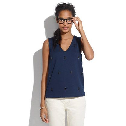 Would look wonderful under a button-up shirt.  ||  Madewell - ponte nightshine tank