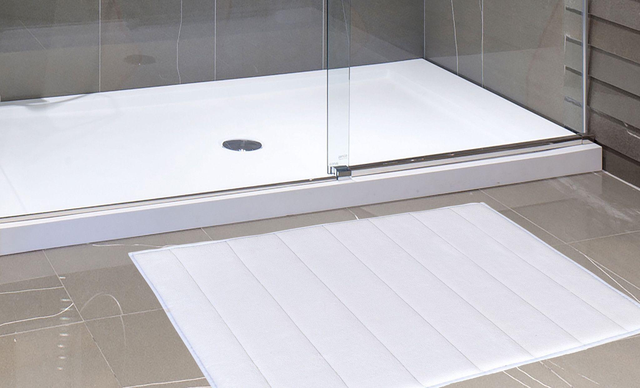 White Memory Foam Bath Mat Horizontal Striped Rug Non Slip Bath