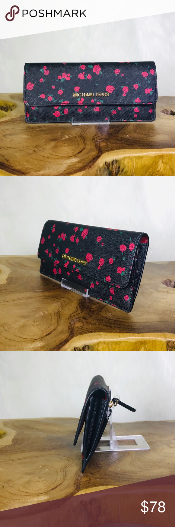 664a50826a78 Michael Kors Jet Set Flat Floral Wallet Michael Kors Jet Set Travel Flat  Floral Wallet Color