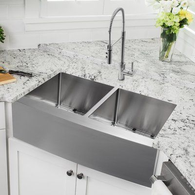 "Cahaba 33"" L x 21"" W Double Basin Apron Kitchen Sink with Faucet | Wayfair"