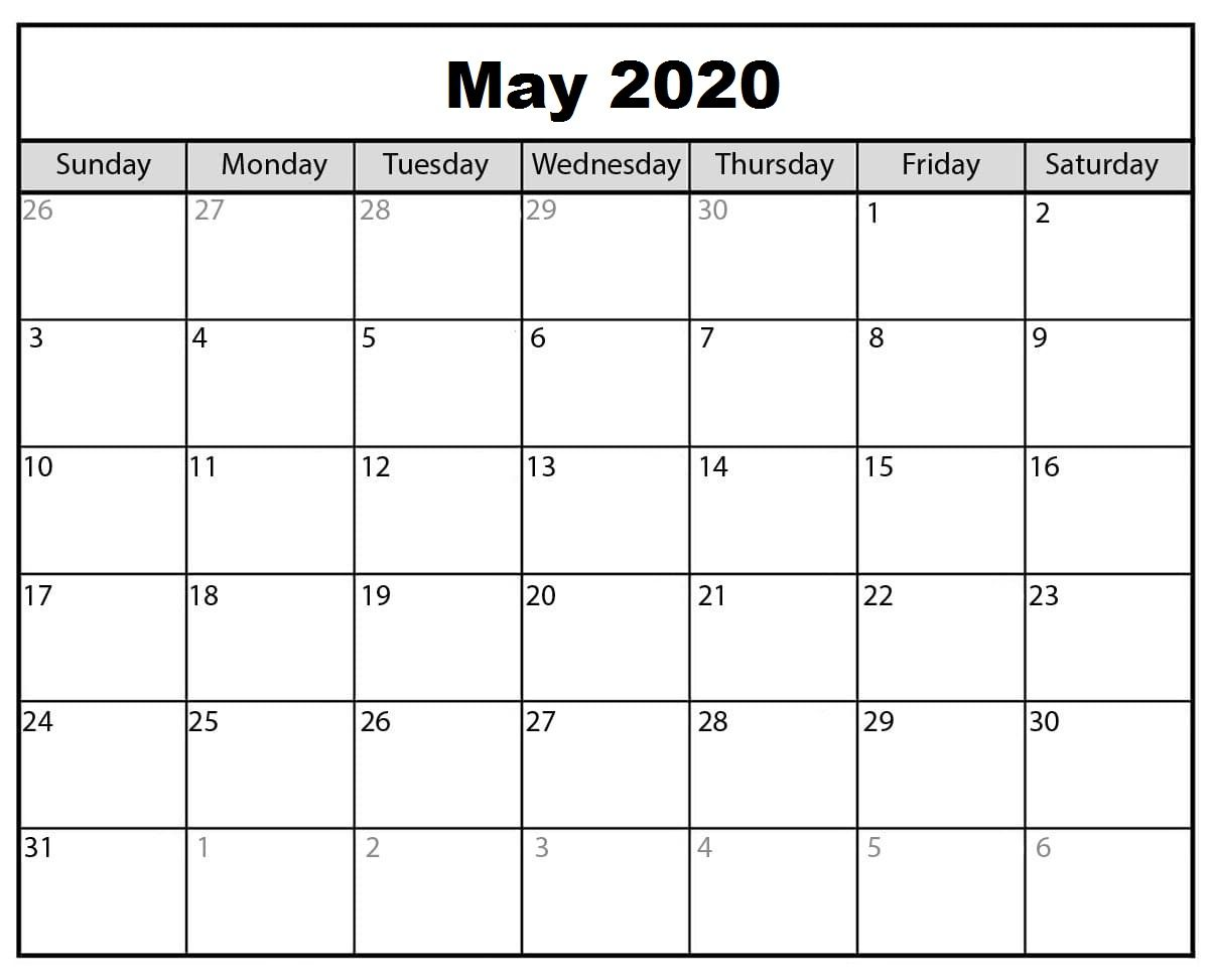 2020 May Calendar Do Some Physical Activity Printable Calendar