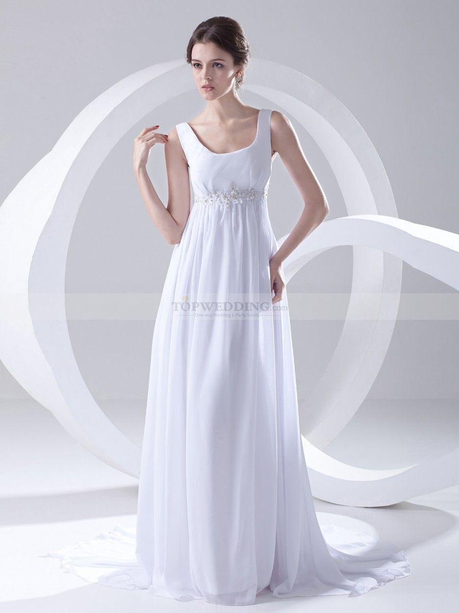 Straps square neckline chiffon empire wedding dress with straps square neckline chiffon empire wedding dress with embellished waist ombrellifo Images