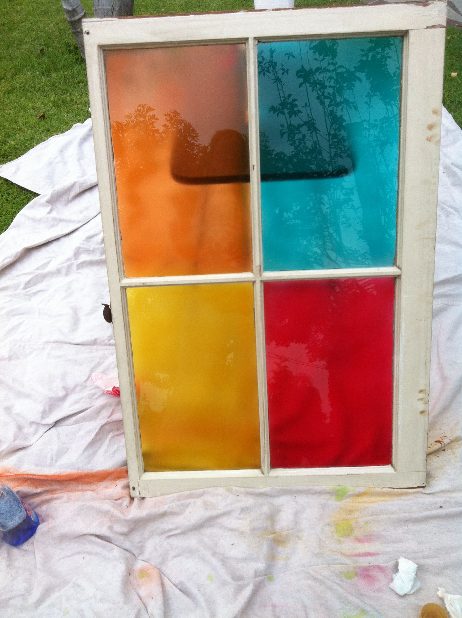 Diy Stained Glass On Old Window Pane With Design Master S Tint It Spray Paint Diy Stained Glass Window Stained Glass Diy Painting On Glass Windows
