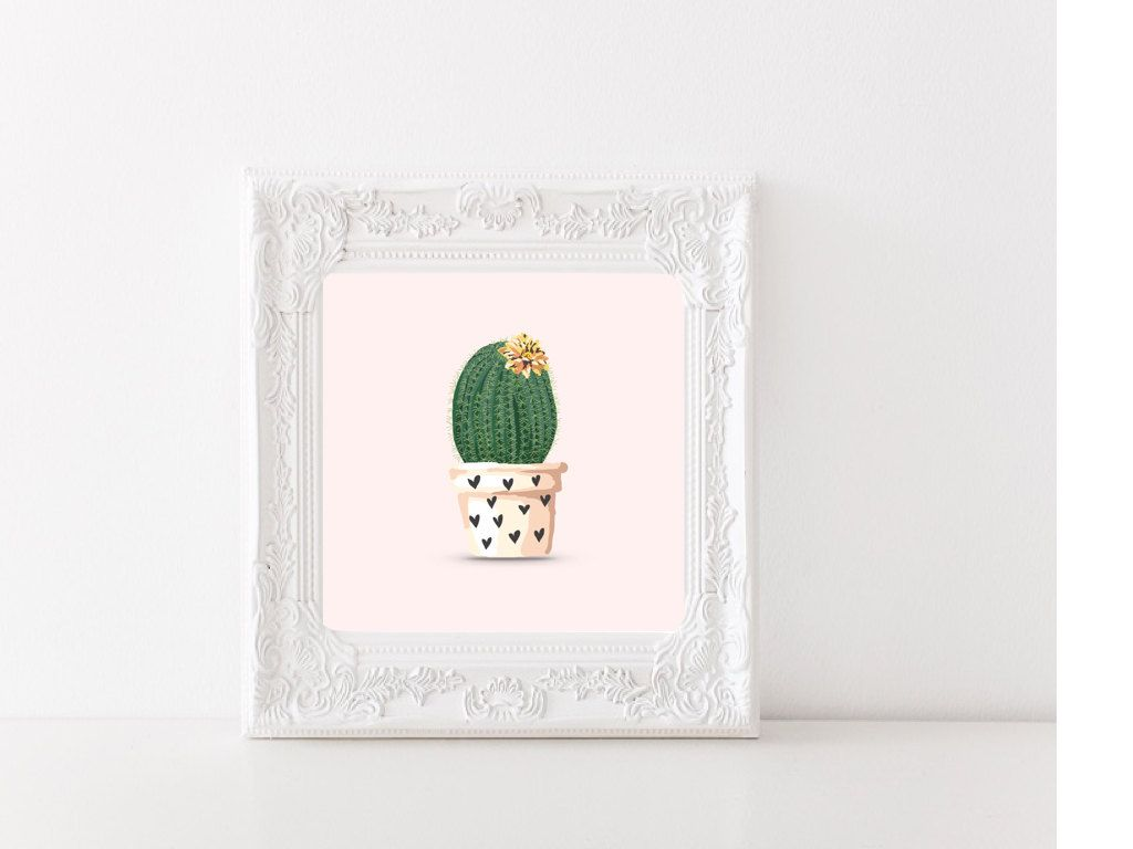 Cactus print Watercolor succulent watercolor print Blush Home decor Western print  Printable wall art Poster Garden Square Instant download by SansSouciPrintables on Etsy