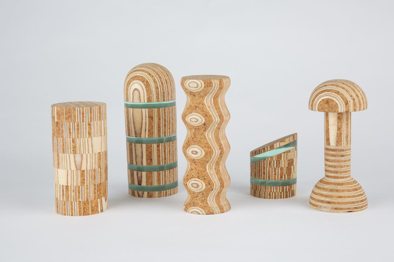 Textile designer Theo Riviere has taken on a new art form working with materials like cork, plywood, and Perspex, to make these ornamental wooden objects.