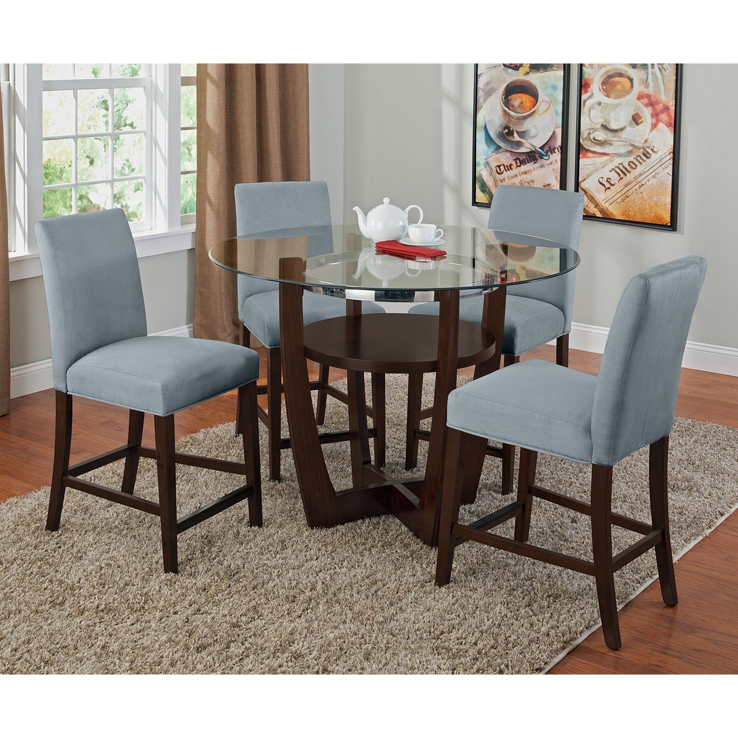 Marvelous Glass Round Dining Table With Shelves And Grey Vinyl Upholstered  Counter Height Stools Dining Set Good Looking