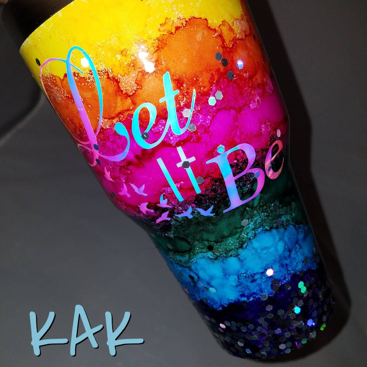 Rainbow Watercolor Holographic Glitter Tumbler Alcohol Ink