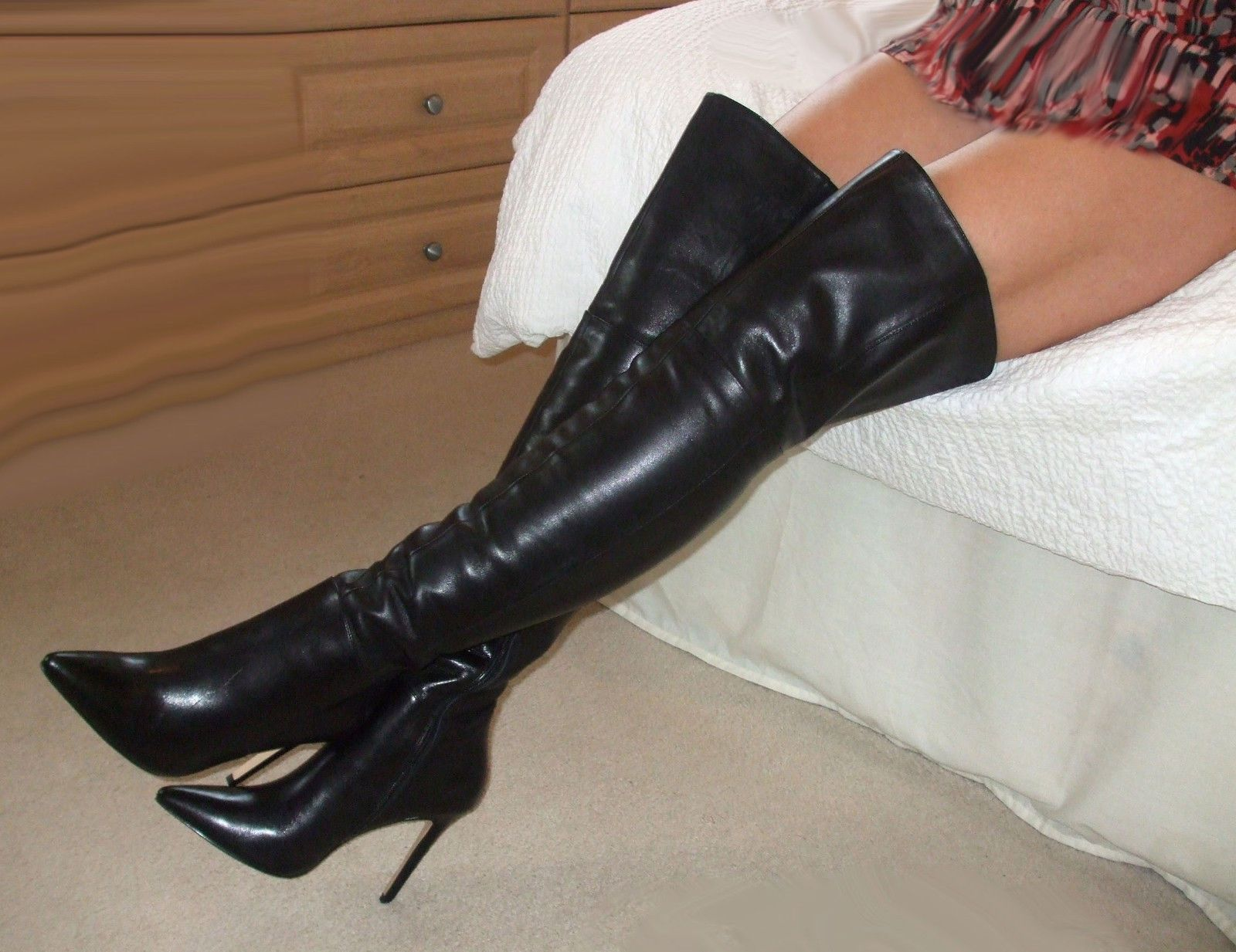 Glossy Soft Leather High Heel Overknee Over Knee Thigh Boots