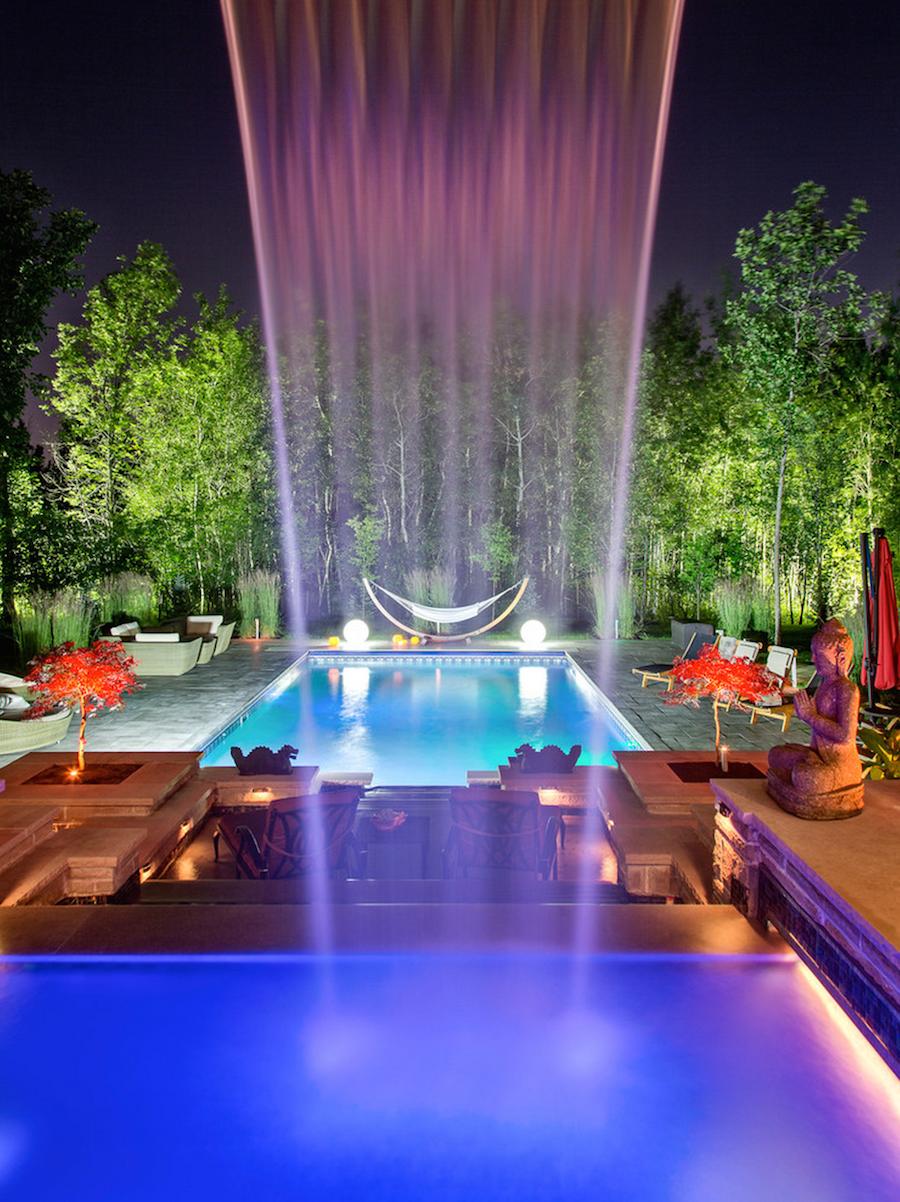 Modern Pool Waterfall