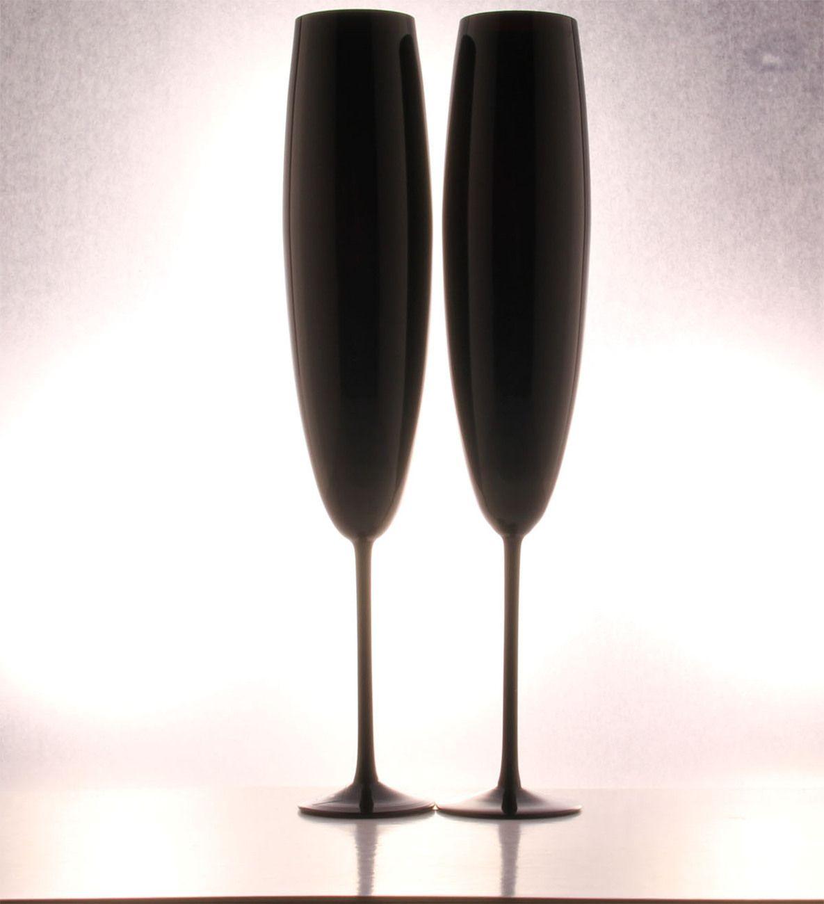 Midnight Black Champagne Flutes, Handmade (Set of 2)