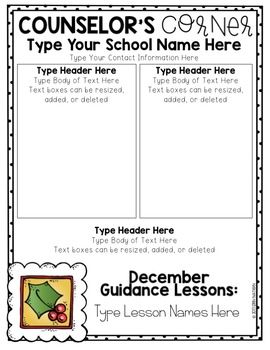 editable school counselor newsletter templates elementary school