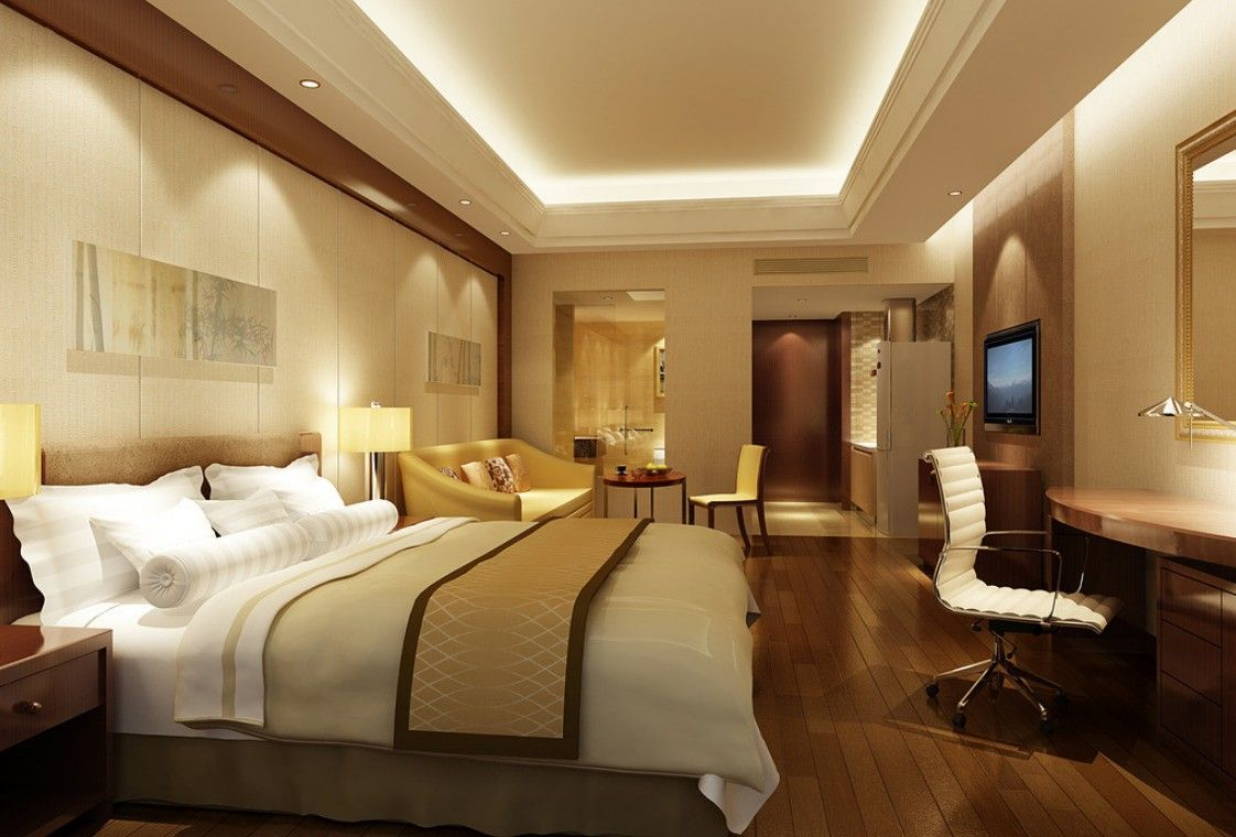 modern hotel bedroom interior design with stylish ceiling lighting and wooden flooring idea